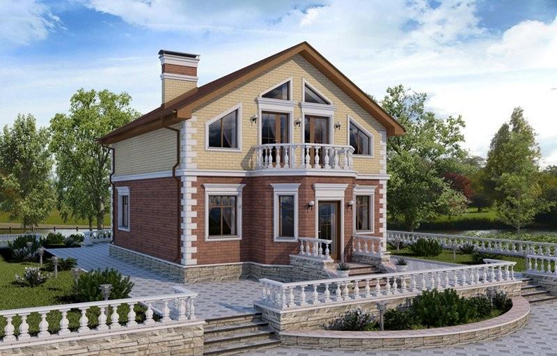 Проект дома из блоков с мансардой в классическом стиле 120-D